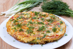 Spanish potato tortilla. On the plate Royalty Free Stock Photo