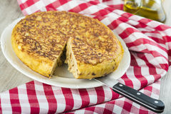 Spanish potatoes omelette Royalty Free Stock Image
