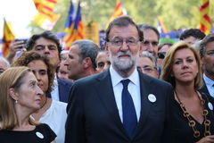 Spanish prime minister Mariano Rajoy at manifestation against terrorism royalty free stock images
