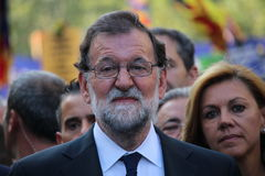 Spanish prime minister Mariano Rajoy at manifestation against terrorism. Barcelona, Spain - August 26, 2017: President of Spanish government Mariano Rajoy Royalty Free Stock Images