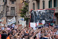Spanish Protest in the Streets of Barcelona, Spain Royalty Free Stock Photography