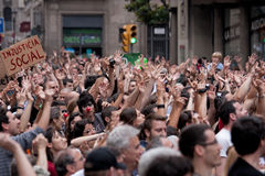 Spanish Protest in the Streets of Barcelona, Spain Royalty Free Stock Image