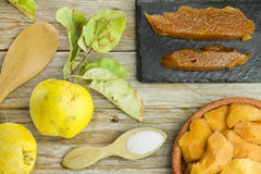 Spanish quince paste with ingredients Royalty Free Stock Photography