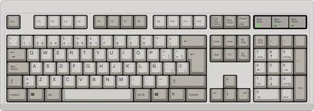 Spanish qwerty SP layout keyboard. Grey. Illustration of a grey qwerty computer keyboard. Spanish SP layout Stock Photos