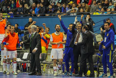 Spanish rejoice the ball. KYIV, UKRAINE - JANUARY 29: Spanish rejoice the ball during a friendly futsal match between Ukraine and Spain in the Palace of Sports Royalty Free Stock Photos