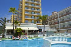 Spanish resort in Malgrat de Mar. Hotel and resort in Malgrat de Mar, Spain Stock Photos