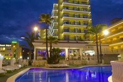 Spanish resort in Malgrat de Mar at night. Hotel and resort in Malgrat de Mar, Spain Royalty Free Stock Photos