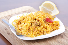 The spanish rice (paella). A image of spanish rice on a saucer Royalty Free Stock Images