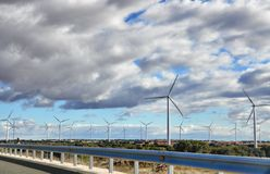 Spanish roads and wind mills Royalty Free Stock Image