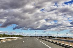 Spanish roads and wind mills Stock Image
