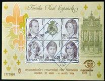 Spanish royal family. SPAIN - CIRCA 1984: Collection stamps shows Spanish royal family Stock Image