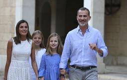 Spain royal family pose in mallorca during summer holidays stock photos