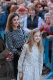 Spanish Royal Queen Letizia gestures with daughter princess Leonor royalty free stock photos
