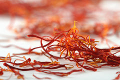 Spanish saffron treads super macro shot stock photo