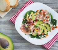 Avocado and jamon salad Royalty Free Stock Photography