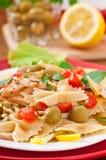 Spanish salad with pasta bows Stock Photos