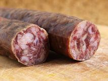 Spanish salami close up Royalty Free Stock Photo