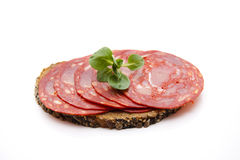 Spanish salamis with bread Stock Photography