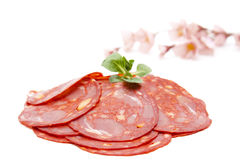 Spanish salamis with flower Stock Photography