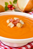 Spanish salmorejo with ham and croutons Stock Image