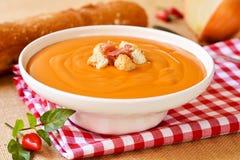 Spanish salmorejo, a tomato soup, topped with serrano ham Royalty Free Stock Photo