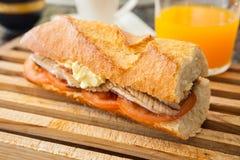 Mackerel sandwich Stock Images