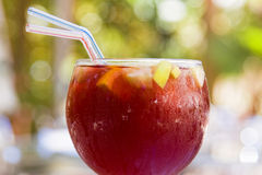 Spanish sangria. Close view of a cup with refreshing spanish sangria Royalty Free Stock Image