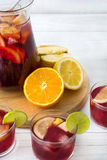 Spanish sangria with fruit and ice Stock Image
