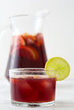 Spanish sangria with fruit and ice Stock Photography