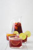 Spanish sangria with fruit and ice Stock Photo