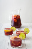 Spanish sangria with fruit and ice Royalty Free Stock Images