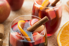 Spanish sangria with red wine and fruits Stock Photos