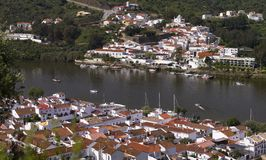 Spanish Sanlucar and Portuguese Alcoutim towns Stock Photos