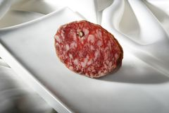 Spanish sausage called salchichon tapas Stock Photography
