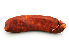 Spanish sausage isolated Royalty Free Stock Photos