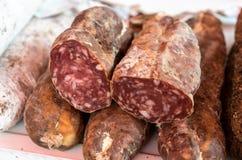 Spanish sausage specialties. Different, tasty, Spanish sausage specialties Stock Photos