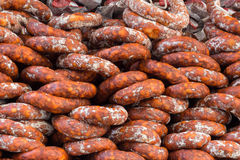Spanish sausages. These Spanish sausages called chorizo are a traditional delicatesse in Spain Royalty Free Stock Photo