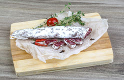 Spanish sausages- fuet Royalty Free Stock Images