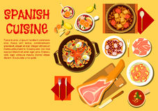 Spanish seafood and meat dishes flat icon Stock Image
