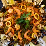 Spanish Seafood Paella. With scampi;mussels;squids and other seafood Royalty Free Stock Image