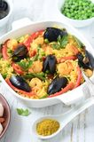 Spanish Seafood Paella Royalty Free Stock Photo