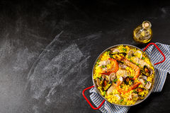 Spanish Seafood Paella Dish with Fresh Scampi Stock Image