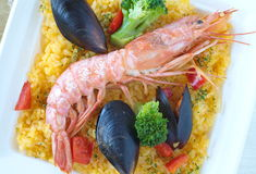 Spanish seafood paella Royalty Free Stock Images