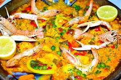 spanish seafood paella in a pan close up Royalty Free Stock Image