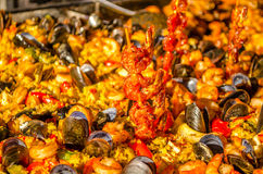 Spanish seafood paella Stock Photos