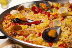 Spanish seafood rice paella, close up Royalty Free Stock Images