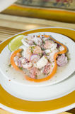 Spanish seafood salad San Luis San Andres I. Spanish seafood salad appetizer tapas shrimp ocotpus caracol conch photographed in San Luis San Andres Island Royalty Free Stock Photo