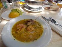 Spanish seafood soup stock image