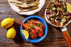 Spanish seafood tapas clams anchovies shrimps Stock Photo