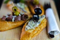 Spanish seafood tapas, mini sandwiches food set, delicious snac stock photos